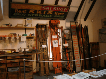 The exhibits in this space portray the evolution of skiing on Mt. Hood. The large collection of snow skis and associated equipment is of special interest to skiers.
