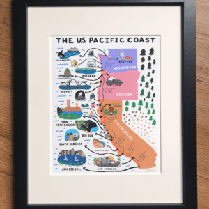 US Pacific Coast Map Art Print