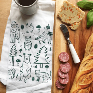 Woodland Animals Kitchen Tea Towel