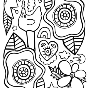Flowers and Chicken Coloring Page - FREE