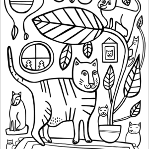 Kitties and Houseplants Coloring Page - FREE
