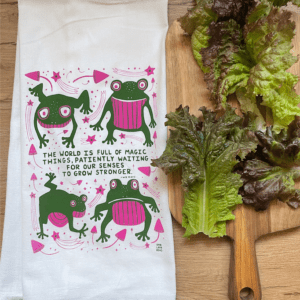 Mushrooms and Frogs Kitchen Tea Towel