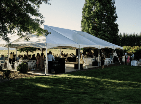 Outdoor Private Event Venue Under Party Tent at Wonser Woods Estate