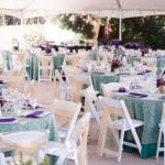 Outdoor Event Setup with Purple and Teal Color Scheme