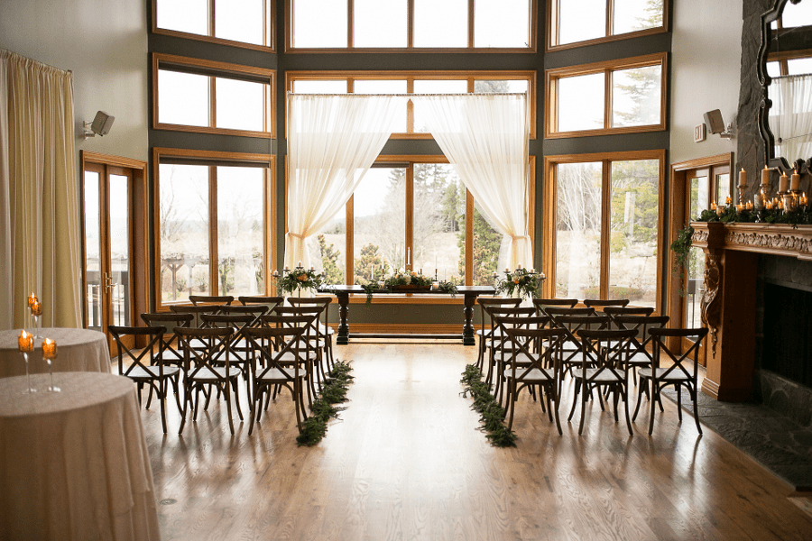 Indoor Wedding in the Great Room at Wonser Woods Estate