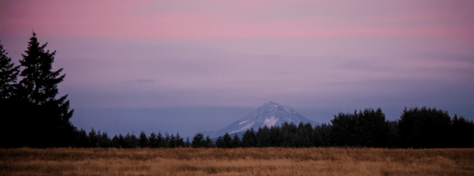 Sunset over Mount Hood at Wonser Woods Wedding Venue