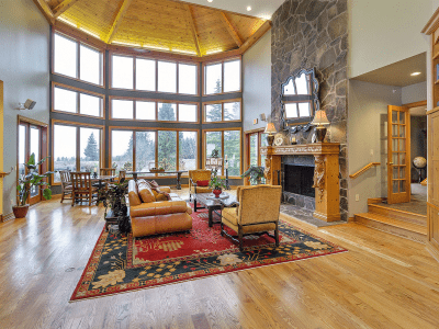 Great Room Tall Ceilings & View of Portland