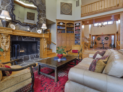 Great Room Couch, Chairs and Fireplace