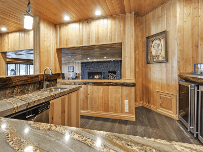 Timber Room Marble Stone Bar