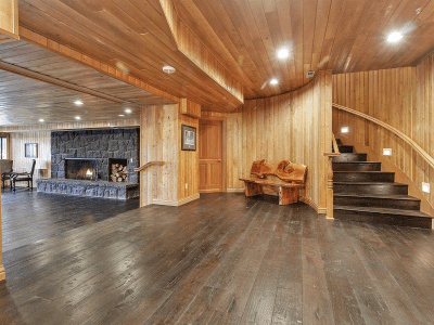 Timber Room Entry Stairs near Fireplace